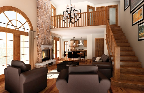 Open floor plans give an inviting and arm atmosphere.
